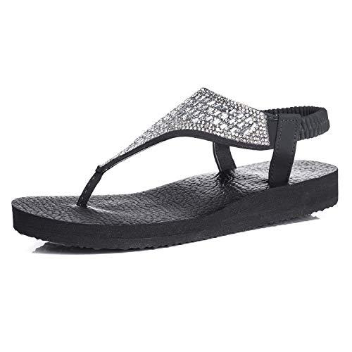 (FITORY Womens Flip Flops Yoga Sling Rhinestones Flat Sandals Comfort Shoes Silver)