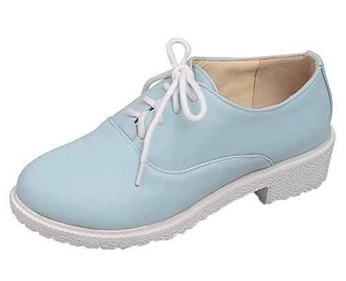 Amoonyfashion Vrouwen Lace-up Ronde Neus Lage Hakken Pu Stevige Pumps-schoenen Blauw