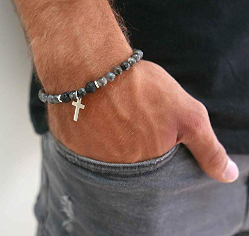Handmade Stretch Bracelet For men Set With Labradorite and Lava Gemstone Beads and Stainless Steel Cross Pendant By Galis Jewelry - Cross Bracelet For Men - Beaded Bracelet For Men - Gemstone Bracelet