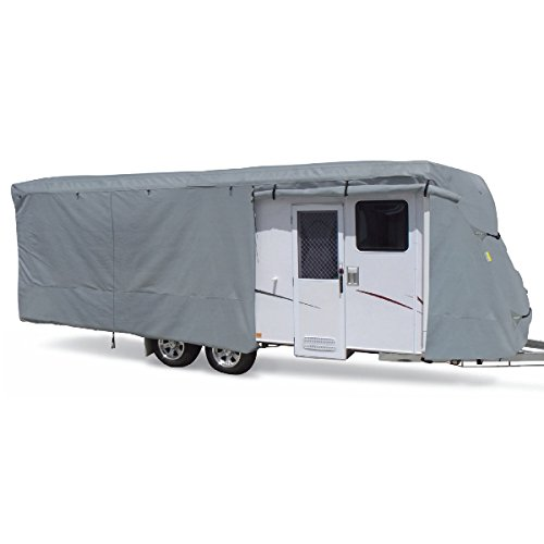 Summates Travel Trailer Cover RV Cover,Color Gray, 4 Layer Polypropylene Fabric for Whole Cover, fits Most Sizes (Fits 24-27ft Travel Trailer, (Rv Trailer Covers)