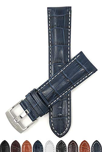 Bandini 20mm Mens Italian Leather Watch Band Strap - Blue with White Stitch - Alligator Pattern