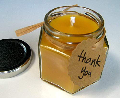 Beeswax Candle Glass Jar Thank you, Bridal or Wedding Favor, 4oz