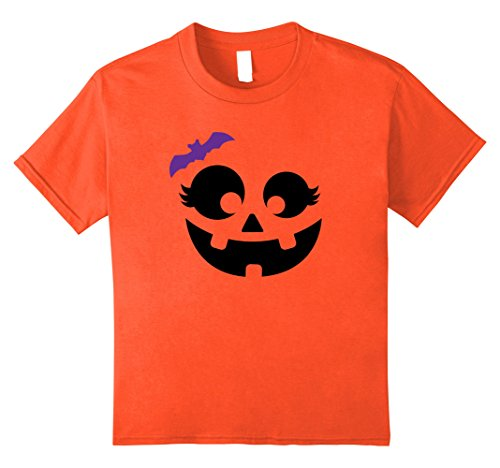 Cute Girls Costume Ideas (Kids Halloween Pumpkin Shirt | Cute Girl's Costume Tee Gift Idea 8 Orange)