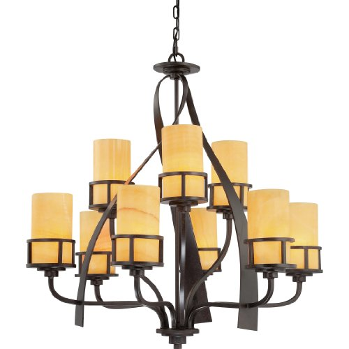 Quoizel KY5009IB Kyle Wrought Iron Faux Alabaster Chandelier, 9-Light, 900 Watts, Imperial Bronze (35