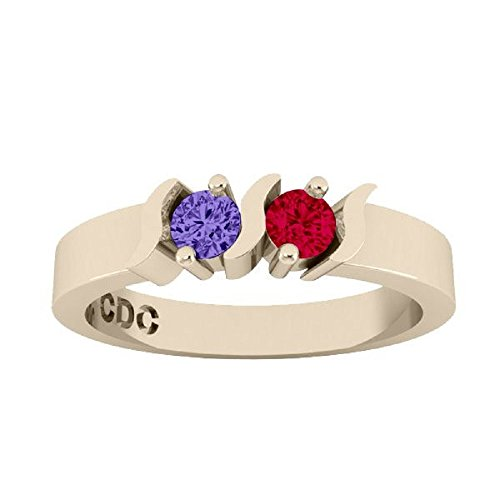 NANA S-Bar Couples 2 stones Ring with His & Hers Simulated Birthstones- 10k Yellow Gold - Size 11 by NaNa