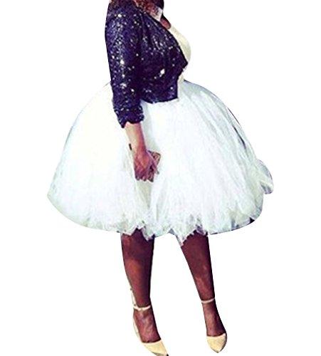 Jupe Blanc Haute Taille Tutu Pettiskirt Multi Tulle Princesse Genou Ballet Femme Vintage au en couche qAStt6