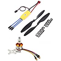 Robotbanao Rc Combo Kit 30a Esc and 1045 Propeller Set and Brushless Motor, Black