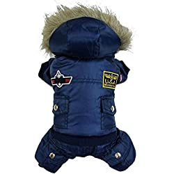 TAONMEISU Dog Clothes Dog Costume Dog Jacket Cute USA Air Force Design Dog Jumpsuits Cloth Hoody Apparel Blue