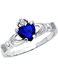 Ladies 925 Sterling Silver Polished Rhodium Simulated September Sapphire Color Heart CZ Irish Celtic Claddagh Ring