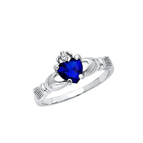 Wellingsale Ladies 925 Sterling Silver Polished Rhodium Simulated September Sapphire Color Heart CZ Irish Celtic Claddagh Ring, AAA Grade Highest Quality - Size 5