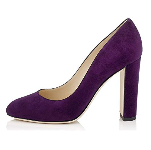 Sammitop Women's Round Toe Block Heel Pumps Slip-on Classic Suede Dress Shoes Purple ()