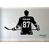 Personalized Hockey Wall Decal - Choose your NAME & NUMBERS Custom Player Jerseys Vinyl Decal Sticker Decor Kids Bedroom