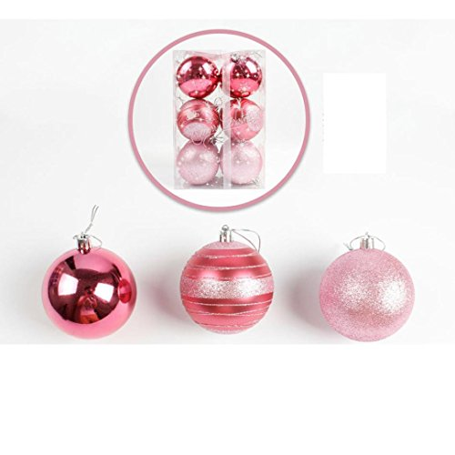 Sinwo 12pcs Christmas Tree Xmas Balls Decorations Baubles Party Wedding Ornament 8cm Christmas Tree Balls (Pink, 12pcs) (Bauble Decoration)