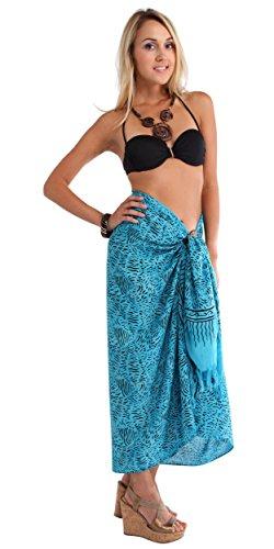 1mundo pareos para mujer abstracto Bañador cover-up Bañador sarong Turquoise