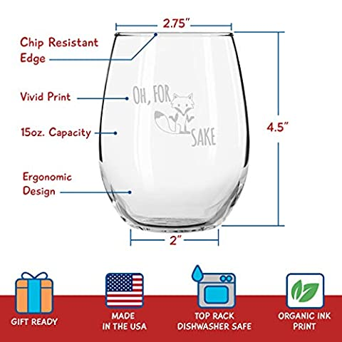 Funny Stemless Wine Glass Set   The Fox Series Pack of 4 Glasses Set   Infoxicated, Zero Fox Given, Oh for Fox Sake, Don…