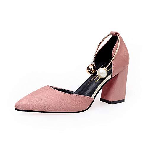 De Mujer Otoño Yukun Zapatos Tacón Palabra Alto Pink alto Zapatos De Hebilla con Grave Baja De Baotou zapatos de tacón Puntiagudos De Boca PcqHPOR