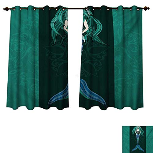 RuppertTextile Mermaid Blackout Thermal Curtain Panel Hand Drawn Mermaid on Ornate Mandala Backdrop Fantasy Design Patterned Drape for Glass Door Jade Green Dark Green Violet Blue W63 x L63 inch ()