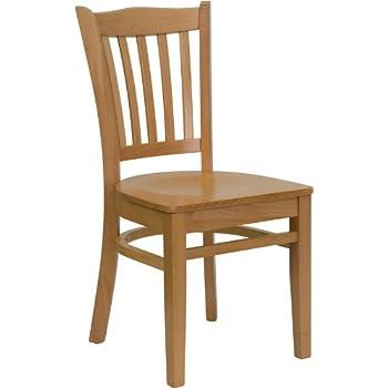 Flash Furniture HERCULES Series Vertical Slat Back Natural Wood Restaurant  Chair