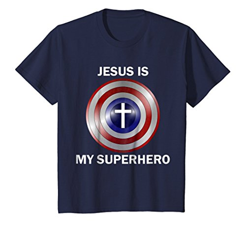 Kids Jesus is my Superhero T Shirt 10 (Jesus Youth Christian T-shirt)