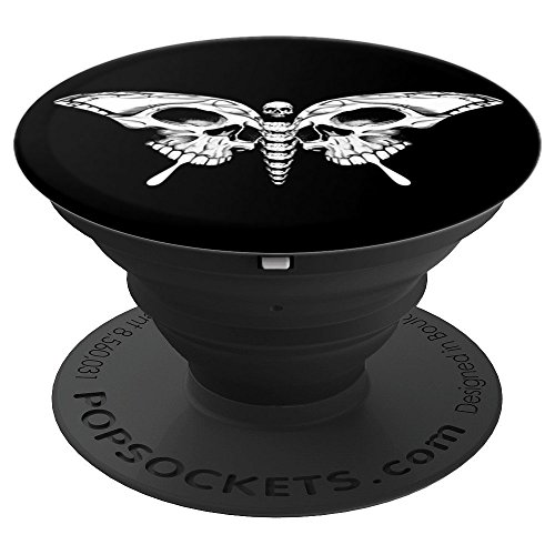 Butterfly White Skeleton Skull Gothic Calavera Cool - PopSockets Grip and Stand for Phones and -
