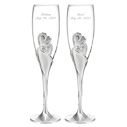 Personalized Sparkling Love Champagne Flutes - Canopy Street - Custom Engraved Set of 2 (Tall Acrylic Canopy)