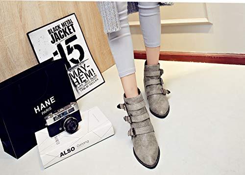 9 Toe Heel B UK 6CM Grey Block Vaneel Women Zipper vaxzpt Boots Pointed fvntPq