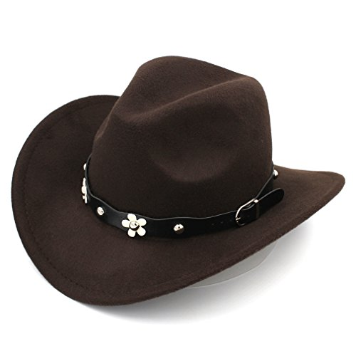 Elee Women Western Cowboy Hat Wide Brim Cowgirl Cap Flower Charms Leather Band (Dark Brown) Belt Style Leather Hat Bands