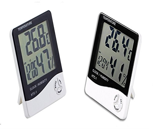 Price comparison product image raamah 2x Indoor Digital Humidity Meter Hygrometer Thermometer with Large LCD Display Temperature Alarm Clock