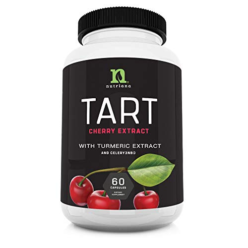 Tart Cherry Extract Capsules with Celery Seed & Turmeric | Uric Acid Support & Joint Relief Formula | Joint Heath Muscle Recovery Healthy Sleep | Tart Cherry Concentrate