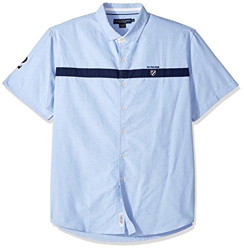 (U.S. Polo Assn. Men's Classic Fit Short Sleeve Sport Shirt, 9827-Light Blue, M)