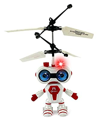 Aviator Flying Robot Infrared IR Sensing Hand Controlled Hovering Aircraft Rechargeable Toy Helicopter w/ Flashing LED Light, USB Charger