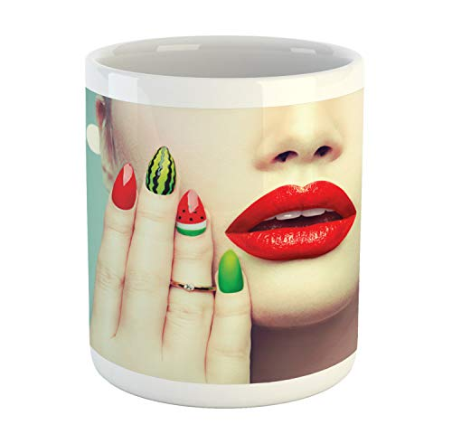 Ambesonne Lips Mug, Lady Showing Her Watermelon Nail Art and Makeup Closeup Over Polka Dots Background, Printed Ceramic Coffee Mug Water Tea Drinks Cup, Multicolor ()