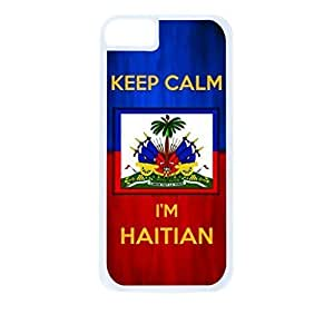 Haiti Flag-Keep Calm, I'm Haitian- For SamSung Galaxy S3 Phone Case Cover Universal-Hard White Plastic Outer Shell with Inner Soft Black Hard Lining