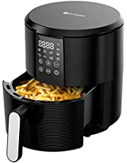 KITCHER Air Fryer, 3.5 Quart Hot Air Fryers Oven with 8 Presets LED Touch Digital Screen Nonstick Fry Basket Adjustable Temperature Timer 50 Recipes Cookbook