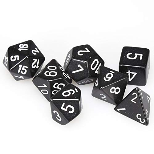 (Chessex Dice: Polyhedral 7-Die Opaque Dice Set - Black with White)