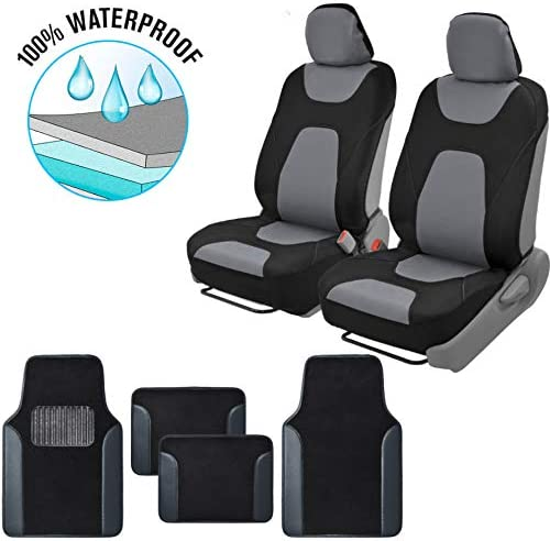 BDK Motor Trend AquaShield Car Seat Covers, Front Pair of 3-Layer Waterproof Neoprene Material with Modern Sideless Design, Includes 4-Piece Carpet Floor Mats, Universal Fit for Auto Truck Van SUV