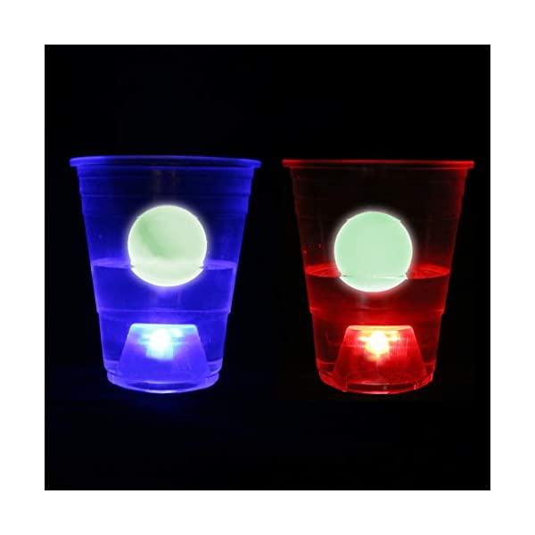LED Table Tennis Six Senses Media Set of 12 Candy Blue /& Red Games Glow-in-The-Dark Balls,Light-Up for Indoor Bachelor Game Night and Outdoor Party