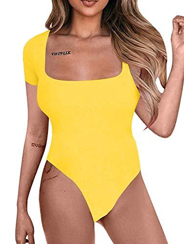 BEAGIMEG Women's Square Neck Short Sleeve Bodysuit Tops Basic Leotards Yellow 2