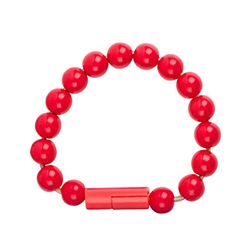 Vsmano Wearable USB Charging Bracelet Beads Charging Cable Portable USB Phone Charger for iPhone Type C Micro USB Android Phones (Android, Red)