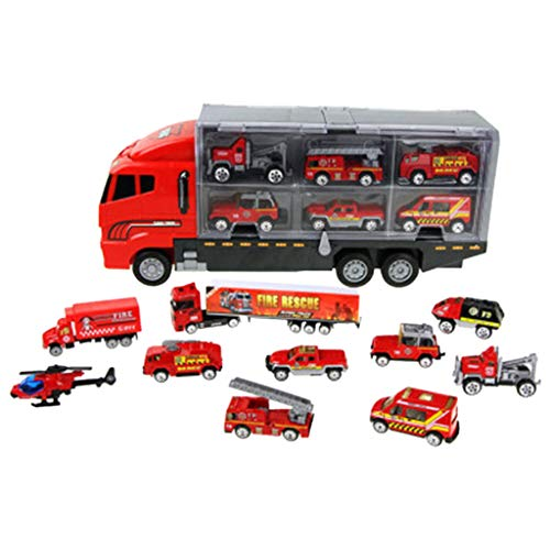 (Nesee 11 in 1 Transport Car, Die-cast Construction Truck Vehicle Car Toy Set Play Vehicles in Carrier Truck, Vehicles Toys Gifts for Age 3 4 + Years Old Kids, Boys and Girls (Red))