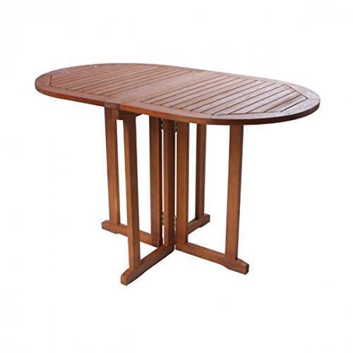 Klapptisch ROM Gartentisch 120 x 70 cm oval Eukalyptus Holz Balkontisch NEU