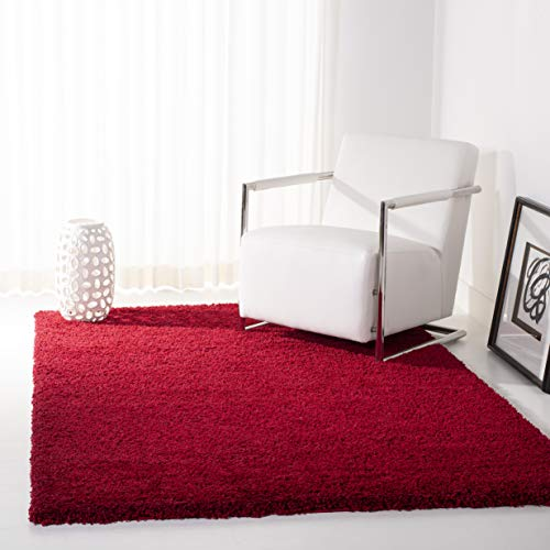 Square Red Shag Rug - Safavieh California Premium Shag Collection Red Square Area Rug (6'7