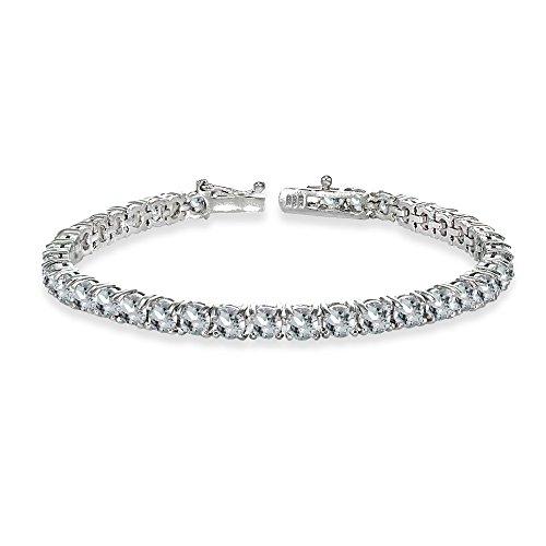 GemStar USA Sterling Silver 4mm Aquamarine Round-Cut Tennis Bracelet