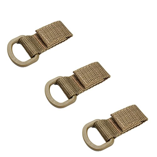 EKLORN 3pcs Tactical T-Ring Strap Adapter with D-Buckle for Molle PALS Webbing (Khaki)