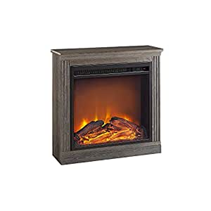 Altra Furniture Bruxton Electric Fireplace, Medium Brown