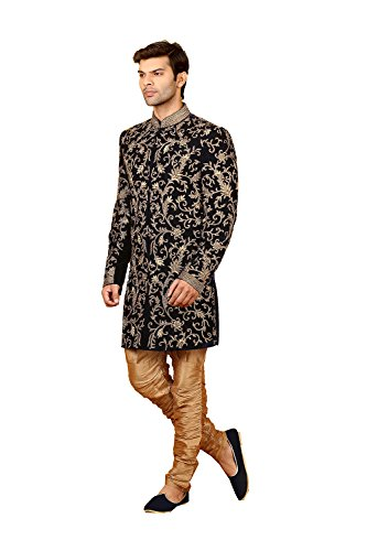 Indianfashion Store Indian Fashion Mens Indo Western Wedding Navy Blue Designer Partywear Traditional R- by Indianfashion Store
