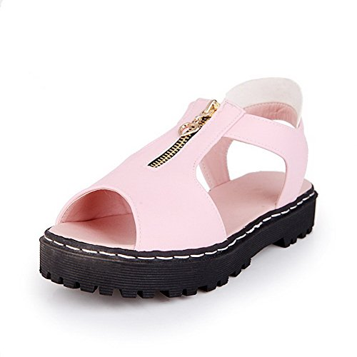 Low Material Solid Open Toe Zipper Women's Soft Sandals VogueZone009 Pink Heels wtInW1aIq