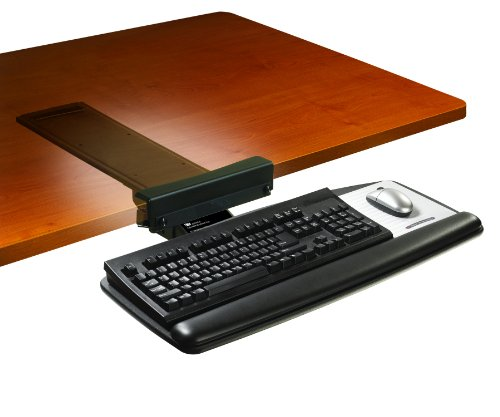 3M Keyboard Tray with Sturdy Wood Platform, Tool Free Installation, Simply Turn Knob to Adjust Height and Tilt, Swivels and Stores, Gel Wrist Rest and Precise Mouse Pad, 17