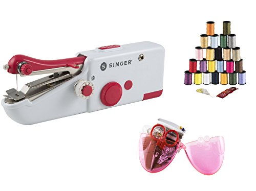 Singer Hand Sewing Machine Bundle – 3 Items: Handy Stitch Sew Quick, Assorted Polyester Thread, Egg-Centric Sewing Kit by Waypros Home