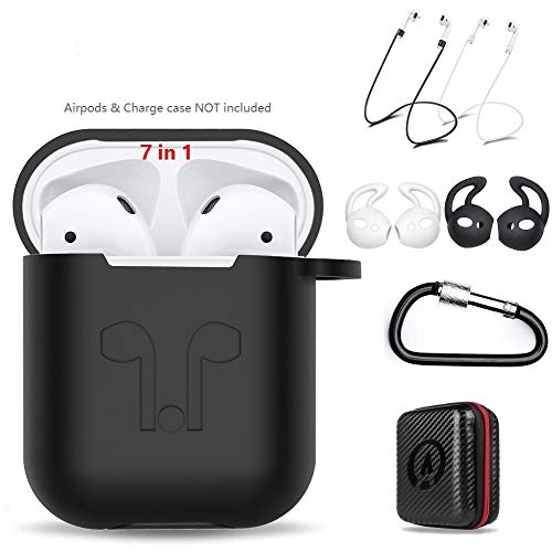 - AirPods Case 7 In 1 Airpods Accessories Kits Protective Silicone Cover and Skin for Apple Airpods Charging Case with Airpods Ear Hook Grips/Airpods Staps/Airpods Clips/Skin/Tips/Grips Black by Amasing